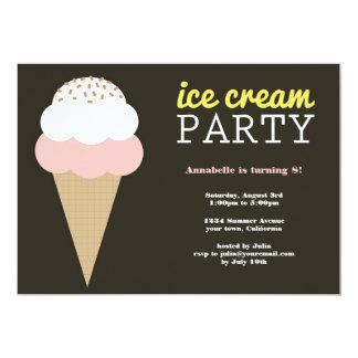 Invitaciones de la fiesta de cumpleaños del helado invitación 12,7 x 17,8 cm