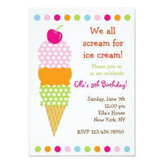Invitaciones de la fiesta de cumpleaños del helado invitacion personalizada