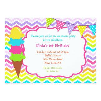 """Invitaciones de la fiesta de cumpleaños del helado invitación 5"""" x 7"""""""