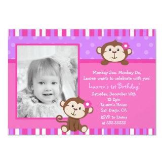 """Invitaciones de la fiesta de cumpleaños del mono invitación 5"""" x 7"""""""