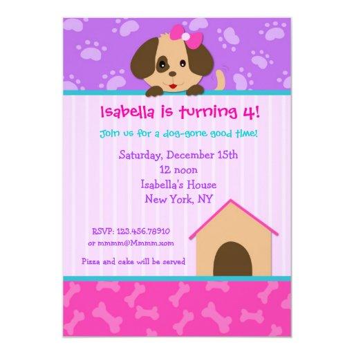 Invitaciones de la fiesta de cumpleaños del perro invitación 12,7 x 17,8 cm