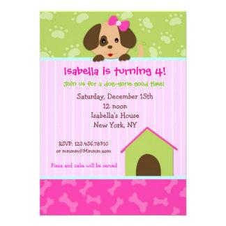 Invitaciones de la fiesta de cumpleaños del perro comunicados personalizados