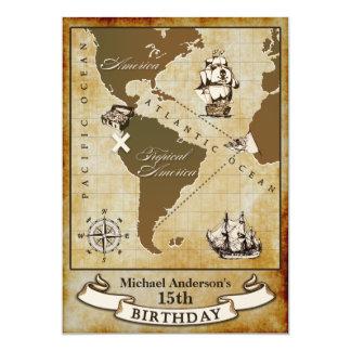 """Invitaciones de la fiesta de cumpleaños del pirata invitación 5"""" x 7"""""""