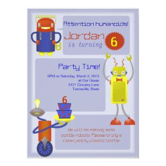 Invitaciones de la fiesta de cumpleaños del robot invitación 16,5 x 22,2 cm