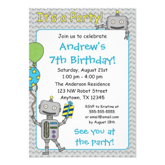 Invitaciones de la fiesta de cumpleaños del robot comunicados