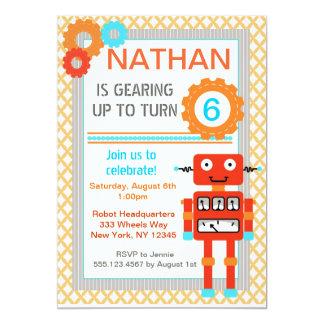 Invitaciones de la fiesta de cumpleaños del robot anuncio