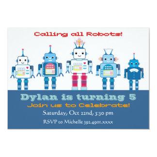 """Invitaciones de la fiesta de cumpleaños del robot invitación 5"""" x 7"""""""