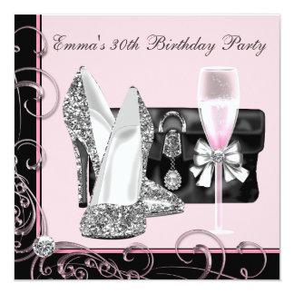 """Invitaciones de la fiesta de cumpleaños del rosa invitación 5.25"""" x 5.25"""""""