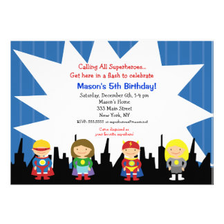 Invitaciones de la fiesta de cumpleaños del super