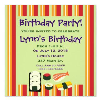 """Invitaciones de la fiesta de cumpleaños del sushi invitación 5.25"""" x 5.25"""""""