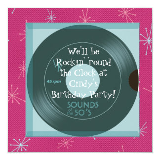 invitaciones de la fiesta de cumpleaños del tema invitación 13,3 cm x 13,3cm