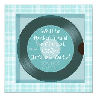 """invitaciones de la fiesta de cumpleaños del tema invitación 5.25"""" x 5.25"""""""
