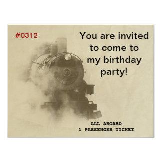 Invitaciones de la fiesta de cumpleaños del tren invitación 10,8 x 13,9 cm
