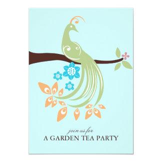 Invitaciones de la fiesta de jardín del pavo real comunicado personalizado