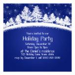 Invitaciones de la fiesta de Navidad azules y blan Comunicado Personal