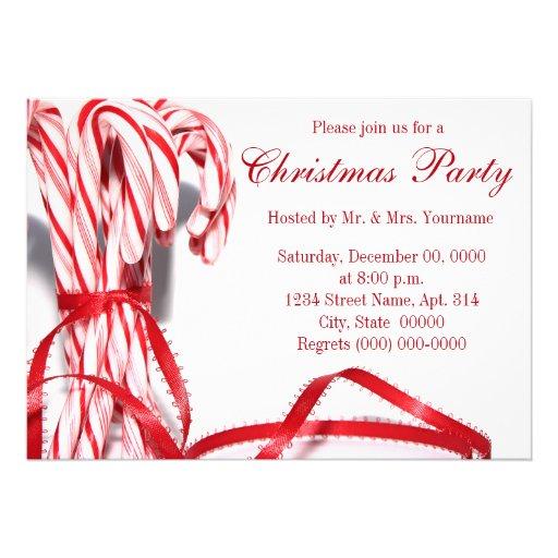 Invitaciones de la fiesta de Navidad de los baston Anuncios Personalizados