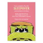 Invitaciones de la fiesta de pijamas del gatito el anuncios personalizados