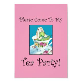 Invitaciones de la fiesta del té de la sirena invitación 12,7 x 17,8 cm