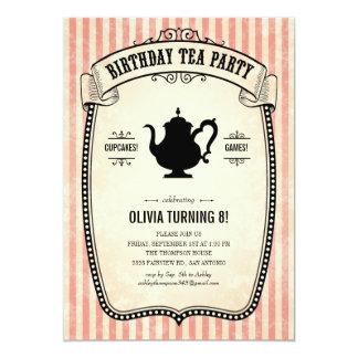 """Invitaciones de la fiesta del té del cumpleaños invitación 5"""" x 7"""""""