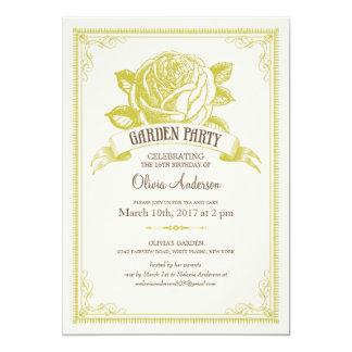 Invitaciones de la fiesta del té del jardín comunicado personalizado