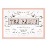 Invitaciones de la fiesta del té del vintage invitación