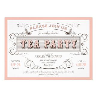 Invitaciones de la fiesta del té del vintage