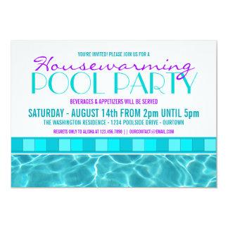 """Invitaciones de la fiesta en la piscina de la casa invitación 5"""" x 7"""""""