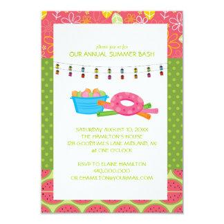 Invitaciones de la fiesta en la piscina del verano invitación 8,9 x 12,7 cm