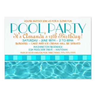 """Invitaciones de la fiesta en la piscina invitación 5"""" x 7"""""""