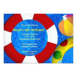 Invitaciones de la fiesta en la piscina - versión invitación 12,7 x 17,8 cm
