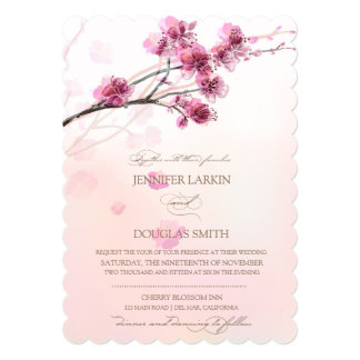 Invitaciones de la flor de cerezo/del boda de invitación 12,7 x 17,8 cm