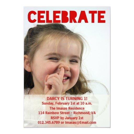 """Invitaciones de la foto de la fiesta de cumpleaños invitación 5"""" x 7"""""""