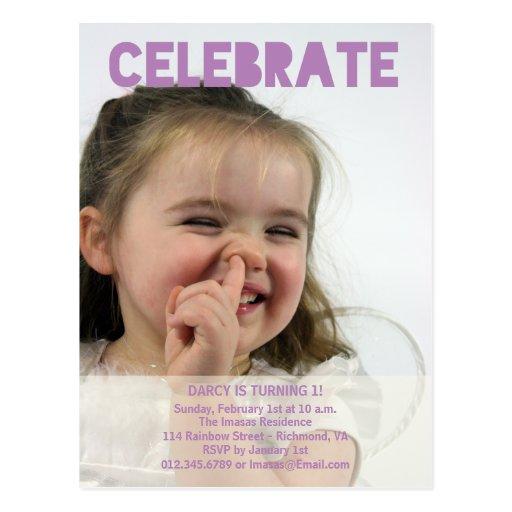 Invitaciones de la foto de la fiesta de cumpleaños postales