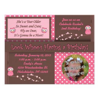Invitaciones de la foto del cumpleaños del búho invitaciones personales