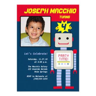 Invitaciones de la foto del robot comunicado personal