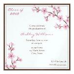 Invitaciones de la graduación de la flor de cerezo invitación 13,3 cm x 13,3cm