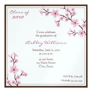 """Invitaciones de la graduación de la flor de cerezo invitación 5.25"""" x 5.25"""""""