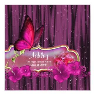 Invitaciones de la graduación de la mariposa de invitación 13,3 cm x 13,3cm