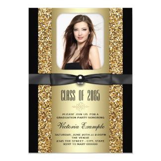 Invitaciones de la graduación del brillo del negro invitación 12,7 x 17,8 cm
