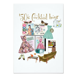 """invitaciones de la hora del cóctel de los años 50 invitación 5"""" x 7"""""""