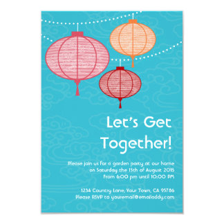 """Invitaciones de la linterna de papel de la fiesta invitación 3.5"""" x 5"""""""
