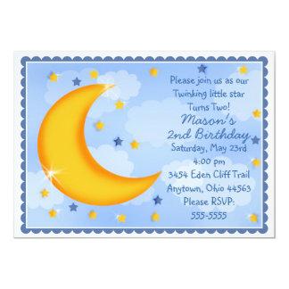 Invitaciones de la luna y de las estrellas invitación 12,7 x 17,8 cm