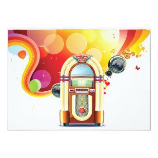 Invitaciones de la máquina tocadiscos invitación 12,7 x 17,8 cm