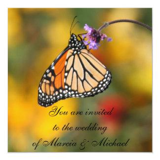 """Invitaciones de la mariposa de monarca invitación 5.25"""" x 5.25"""""""