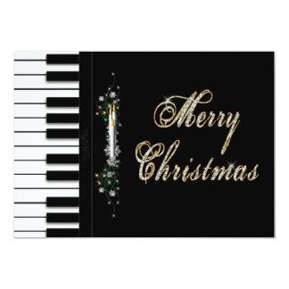"""Invitaciones de la música del navidad - piano - invitación 5"""" x 7"""""""