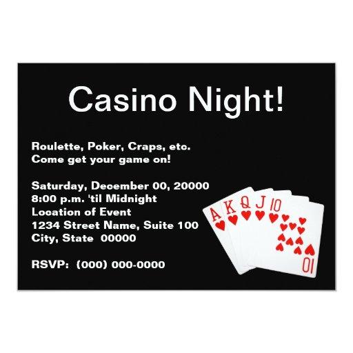 Invitaciones de la noche del casino invitación 12,7 x 17,8 cm