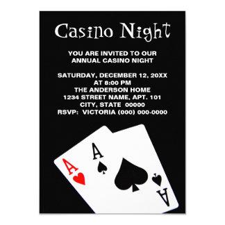 """Invitaciones de la noche del casino invitación 4.5"""" x 6.25"""""""
