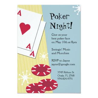 Invitaciones de la noche del póker invitación 12,7 x 17,8 cm