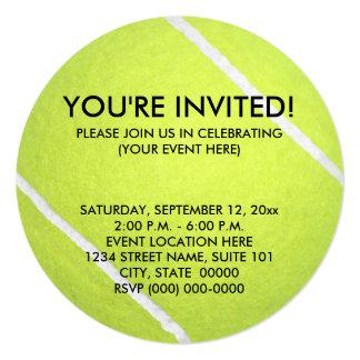 """Invitaciones de la pelota de tenis invitación 5.25"""" x 5.25"""""""