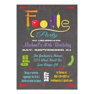 Invitaciones de la pizarra del fiesta de Foodie Invitaciones Personales